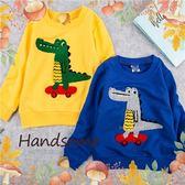 毛線鉤織鱷魚滑板薄棉長袖上衣-2色(280058)★水娃娃時尚童裝★