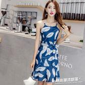 洋裝  視頻 氣質印花吊帶雪紡連身裙荷葉邊時尚系帶顯瘦打底裙6037
