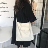 帆布包 ins原宿韓版斜背帆布包包學生夏季新款側背布袋購物袋女 8號店