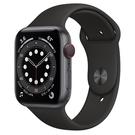 Apple Watch S6 LTE 44mm 太空灰色鋁金屬-黑色運動型錶帶【現貨 你的健康心生活】