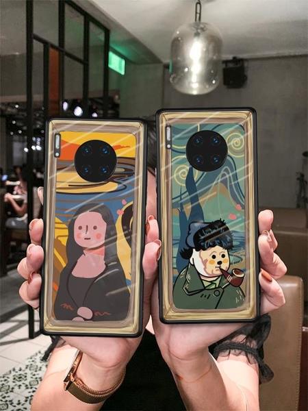 可比拉原創適用華為MATE30PRO手機殼情侶MT30POR全包METE3O女mt玻璃油畫M超薄5G創意EPRO男e保護套高檔