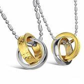 鈦鋼項鍊墜飾(一對)-圓環相扣生日聖誕節禮物男女對鍊73cl115[時尚巴黎]