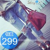 【V2074】shiny藍格子-獨特玩搭.時尚街潮款淺色破洞水洗牛仔長褲