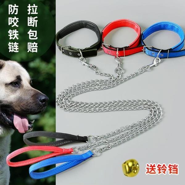 鐵鍊狗狗牽引繩泰迪金毛遛狗繩狗鍊子小型中型大型犬項圈寵物用品