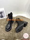 馬丁靴女英倫風夏季單靴薄款百搭厚底短靴【大碼百分百】