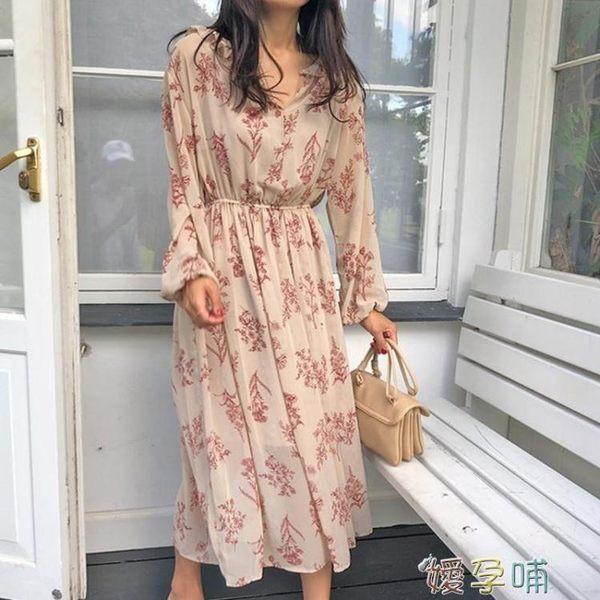雪紡洋裝碎花長袖洋裝女溫柔顯瘦chic雪紡長裙2019  【熱賣新品】