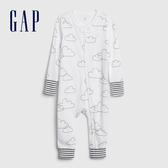 Gap嬰兒童趣印花長袖連體衣546572-光感白