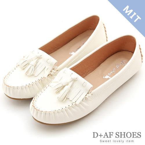 豆豆鞋 D+AF 優活舒適.MIT流蘇豆豆底莫卡辛鞋*休閒白