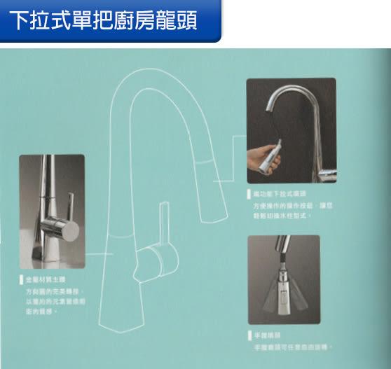 [Huntington] 美國精品無鉛龍頭 現代系列_古典線條造型單把兩功能下拉式噴頭_廚房龍頭 (K18110)