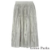 「Spring」光澤緞面飄逸百褶長裙 - Green Parks