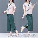 短袖棉麻 民族風女套裝2021年夏季新款復古休閒中國風闊腿褲套裝兩件套棉麻 17【快速出貨】