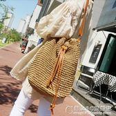 春夏草編包包流蘇水桶斜背包/側背包沙灘包編織袋女包 概念3C旗艦店