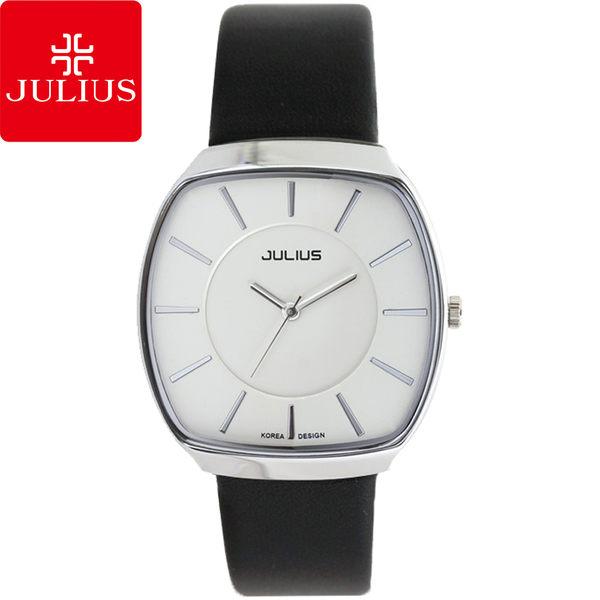 JULIUS 聚利時 都會午茶時光酒桶形簡約男腕錶-白×黑/37x41mm 【JA-669MA】