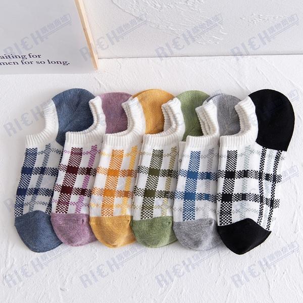 襪子女短襪淺口夏季薄款棉襪ins潮韓國日系可愛格子矽膠防滑船襪