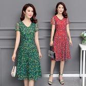 中年婦女裝媽媽裝連身裙40-50歲45短袖中長款女人天裙子 『米菲良品』
