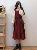 大碼胖mm打底裙女秋冬新款中長款紅色長袖連身裙假兩件套裙子 suger