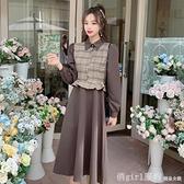 洋裝 秋冬季法式小香風氣質時尚減齡打底裙子長袖襯衫假兩件拼接連身裙 開春特惠