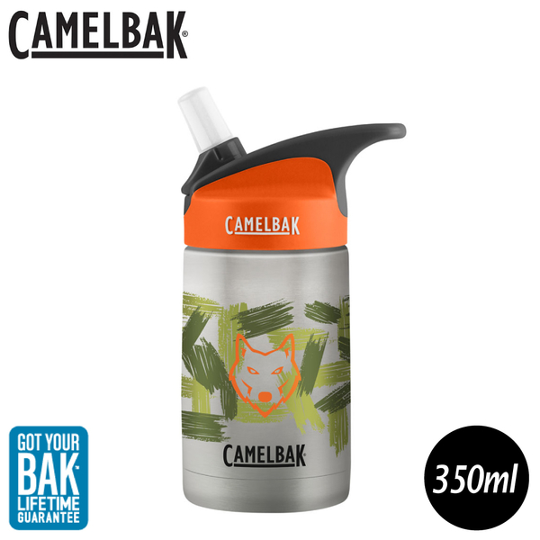 【CamelBak 美國 350ml eddy兒童吸管保冰/溫水瓶《叢林野狼》】1883104040/兒童水壺