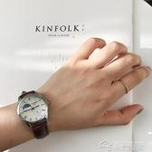 手錶韓版簡約原宿風學生表女表復古棕色黑色皮帶手表文藝情侶石英表 夢想生活家
