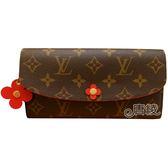 【Louis Vuitton 路易威登】M62941 經典EMILIE系列Monogram帆布花卉暗釦長夾(咖啡)