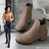 馬丁靴女秋靴女新款英倫風學生韓版百搭磨砂短靴女平底瘦瘦靴