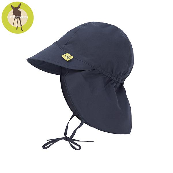 德國LASSIG-嬰幼兒抗UV防曬遮頸帽-深軍藍
