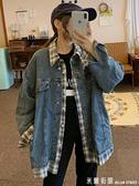 牛仔工裝外套女寬鬆bf秋季韓版拼接假兩件長袖夾克外衣2021新款潮