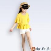 女童短袖T恤喇叭娃娃衫韓版兒童上衣親子裝純棉【淘夢屋】