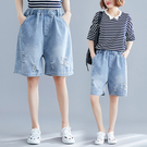 六月專屬價 破洞牛仔褲女夏季 百搭闊腿褲大尺碼 鬆緊腰五分褲