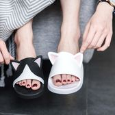 家居貓耳拖鞋平底女夏防滑室內可愛情侶塑料貓咪家居拖
