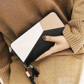 2018新款女士手拿錢包女長款韓版潮個性撞色拼接拉鏈女學生手機包『潮流世家』