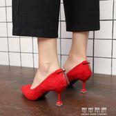 尖頭水鑽流蘇性感高跟鞋女細跟淺口套腳單鞋紅色婚鞋 流行花園