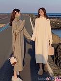 針織連身裙 慵懶風高領毛衣女冬加厚內搭法式過膝長裙打底針織連身裙女秋冬 coco