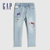 Gap女幼童 Gap x Disney 迪士尼系列印花鬆緊牛仔褲 631560-米妮圖案
