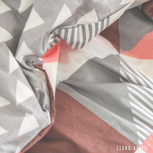 純棉 床包被套組(薄) 雙人【斯涅爾 / 紅】100%精梳棉 純棉 翔仔居家 ikea風格