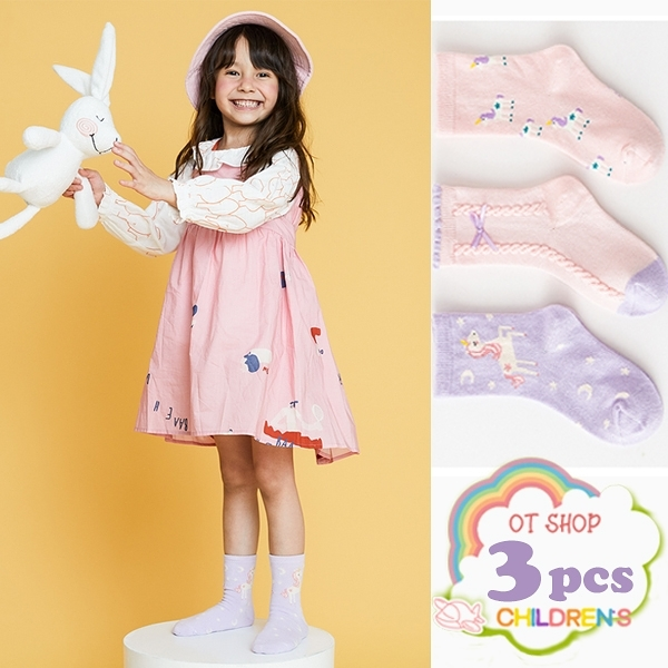OT SHOP[現貨]三入組 兒童襪 女童 襪子 中筒襪 運動襪 精梳棉 卡通 動物 獨角獸 可愛粉嫩色系 M6026