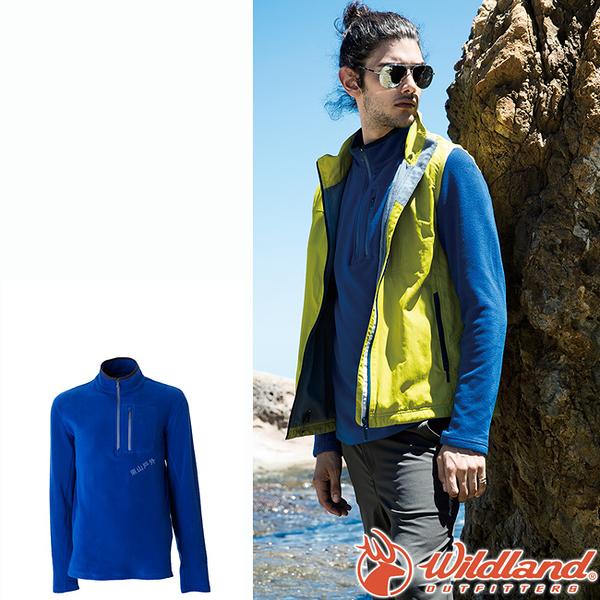 Wildland 荒野 0A52502-70寶藍色 男彈性PILE保暖衣 輕量/爬山健行休閒衫/保暖衣