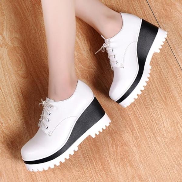 內增高小皮鞋女英倫學院風高跟鞋厚底圓頭增高單鞋學生職業女鞋「時尚彩紅屋」
