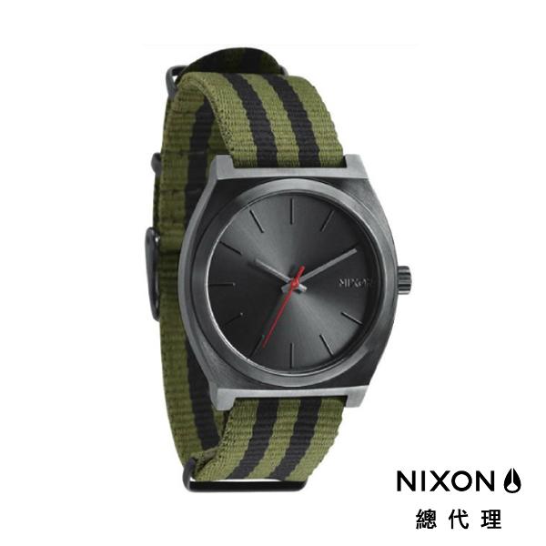 【官方旗艦店】NIXON TIME TELLER 極簡小錶款 帆布錶帶 軍綠黑條紋 潮人裝備 潮人態度 禮物首選