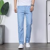 男士超薄牛仔褲男直筒寬鬆青年大碼休閒淺色男褲子夏季薄款商務潮 酷男精品館