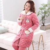 睡衣 睡衣女秋冬珊瑚絨夾棉襖三層加厚家居服冬天法蘭絨保暖套裝