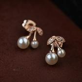 耳環 玫瑰金純銀珍珠-可愛櫻桃生日情人節禮物女耳針73gt180【時尚巴黎】