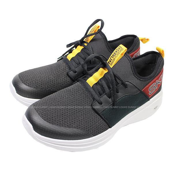 (B2) SKECHERS GO Run Fast 男慢跑鞋 布魯克林 黑 酒紅 55109BKMT 送贈品 [陽光樂活]