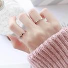 情侶戒指 冷淡風chic食指鈦鋼戒指女不掉色閃鑽鑲鑽日韓個性玫瑰金細款尾戒