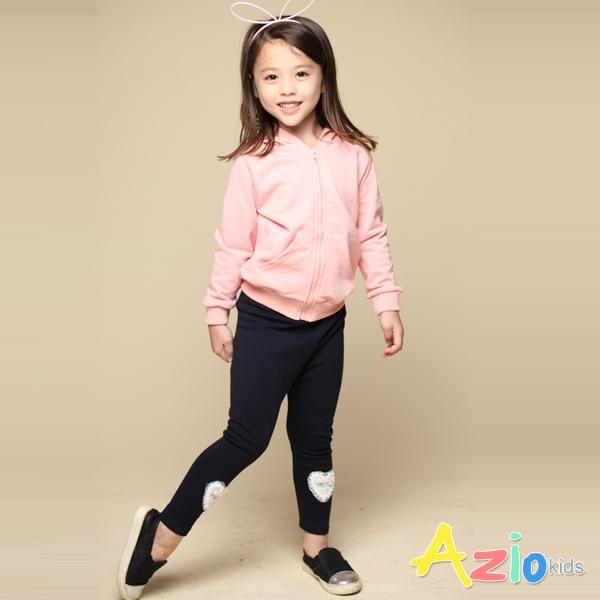 Azio 女童 長褲 愛心蕾絲內搭長褲(藍) Azio Kids 美國派 童裝