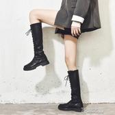 長筒靴女 騎士靴長靴女冬加絨高筒顯瘦英倫風新款不過膝小個子長筒皮靴 快速出貨