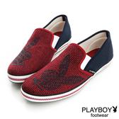 PLAYBOY 幾何造型 編織懶人鞋-紅
