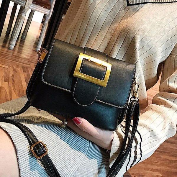 斜背包 新款包包女皮帶扣小方包簡約側背包百搭歐美時尚斜背包【 Z 】