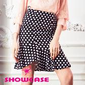 【SHOWCASE】圓點不規則剪裁波浪襬窄裙(黑)