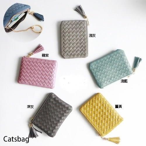 韓國質感手工真編織大容量可插信用卡流蘇零錢包/短夾Catsbag-A430503